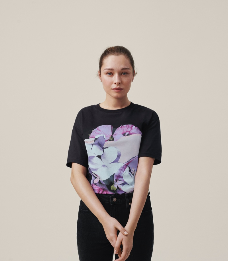 Sarah-Sofie Sonne poses in Helena Christensen x H&M collaboration
