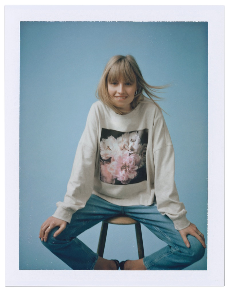 Model Klara Kristin poses in Helena Christensen x H&M collaboration