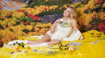 Surrounded by flowers, January Jones models Pair of Thieves collaboration
