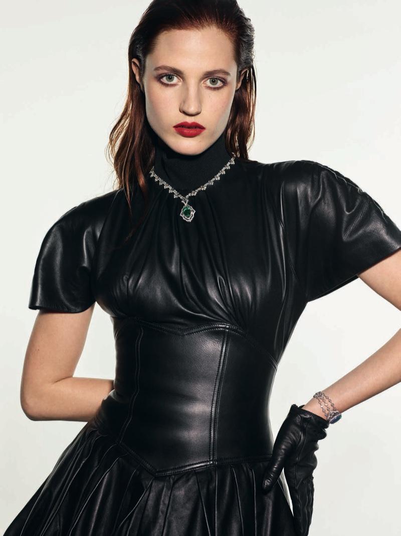 Julia Banas Dazzles in Sleek Styles for Vogue Poland