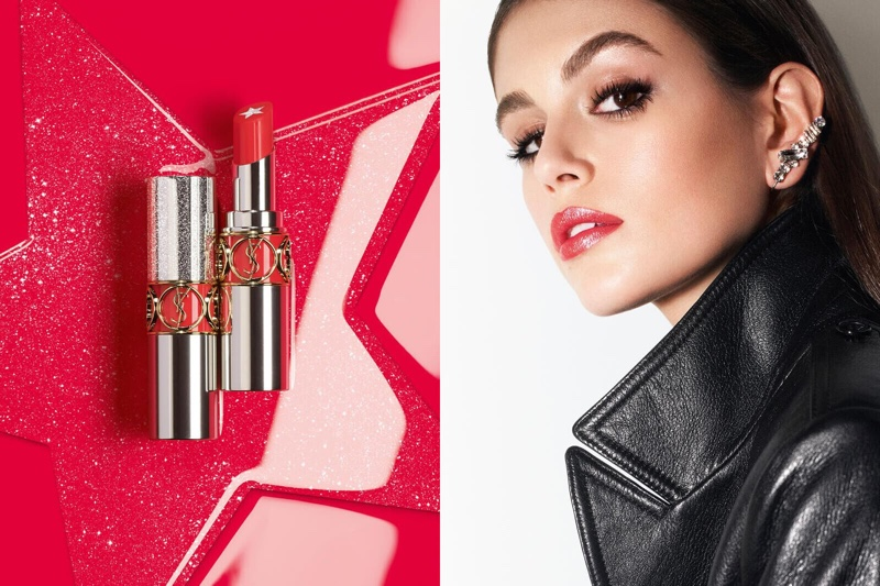 Kaia Gerber shines in YSL Beauty Rouge Volupte Rock'n Shine campaign