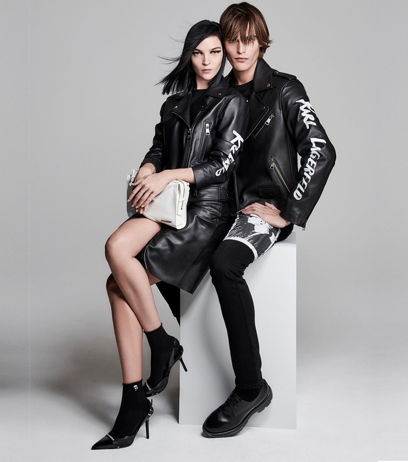 Models Mariacarla Boscono and Parker van Noord front Karl Lagerfeld spring-summer 2020 campaign