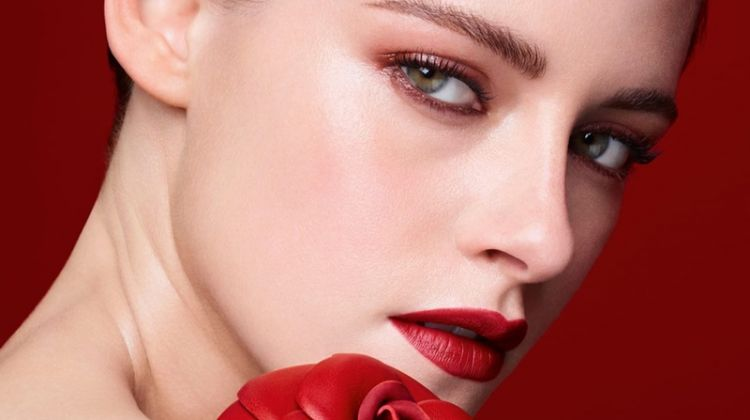Actress Kristen Stewart gets her closeup in Chanel Rouge Allure Velvet lipstick campaign