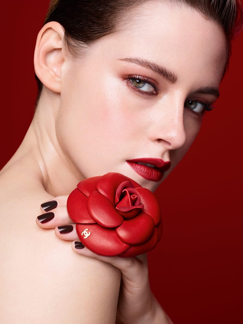 Actress Kristen Stewart gets her closeup in Chanel Rouge Allure Camelia lipstick campaign