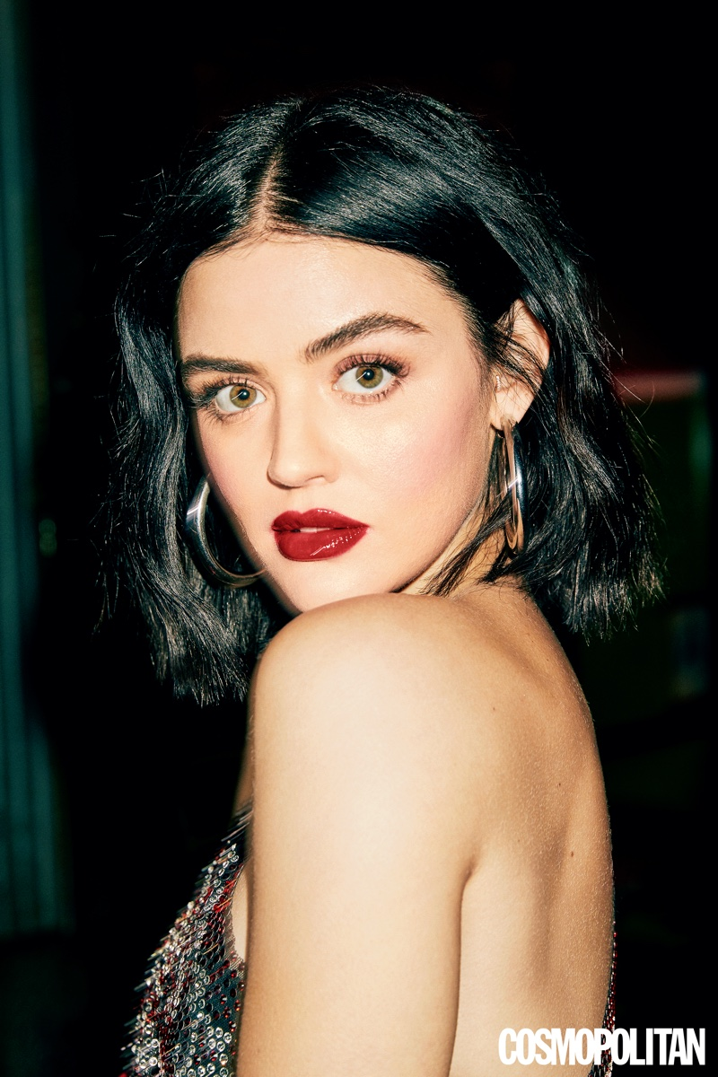 Ready for her closeup, Lucy Hale shows off red lipstick