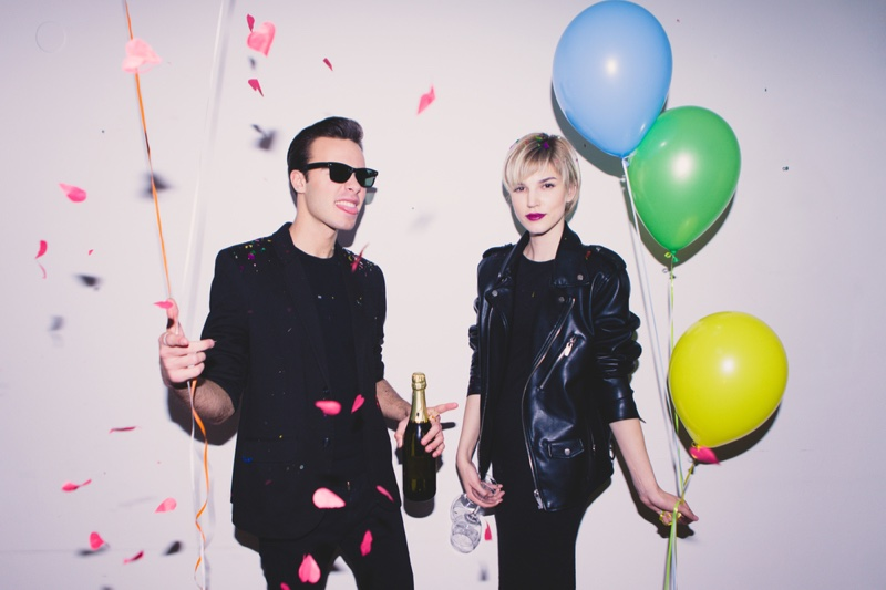 Man Woman Party Black Outfits Balloons