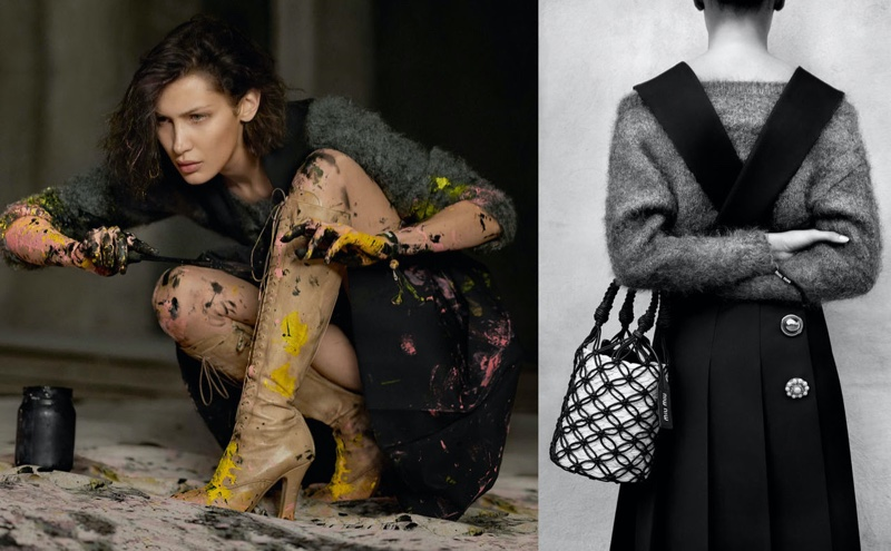 Decorated with paint, Bella Hadid fronts Miu Miu spring-summer 2020 campaign