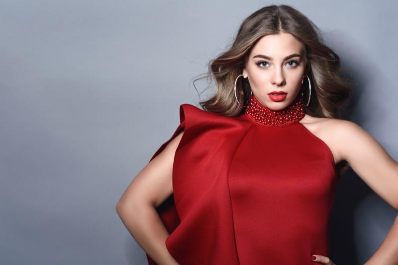 Model Red Dress Hoop Earrings Wavy Hair
