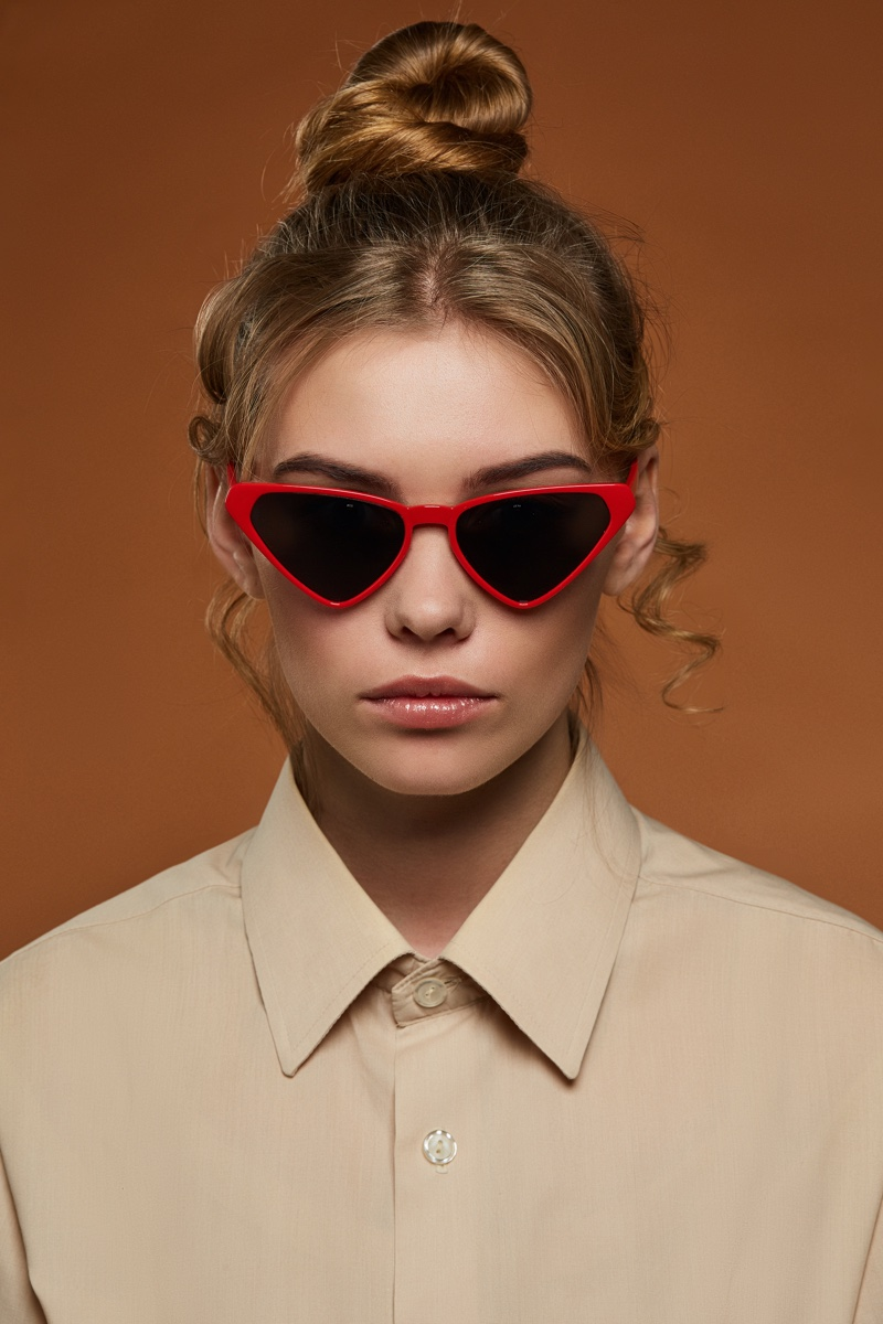 Model Red Triangle Sunglasses High Bun
