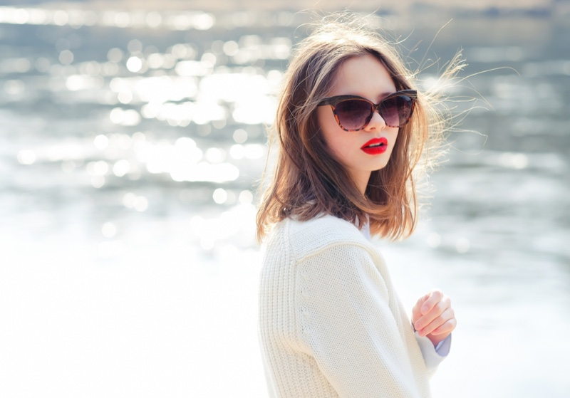 Model Sunglasses Red Lips White Sweater Outdoors Water