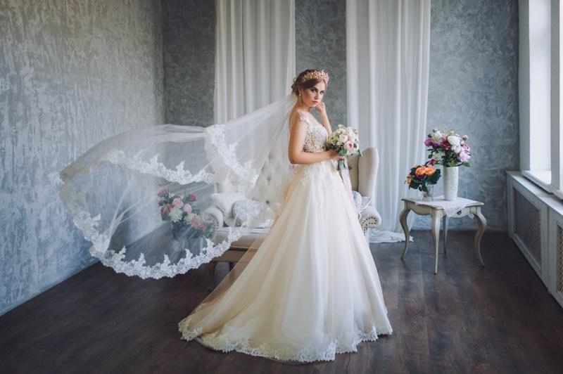 Model Wedding Dress Fashion Long Veil Tiara