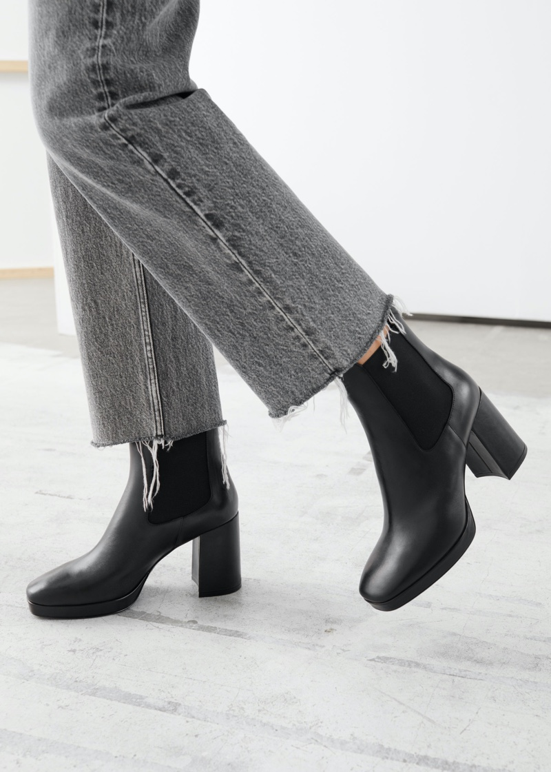 & Other Stories Block Heel Leather Chelsea Boots $229