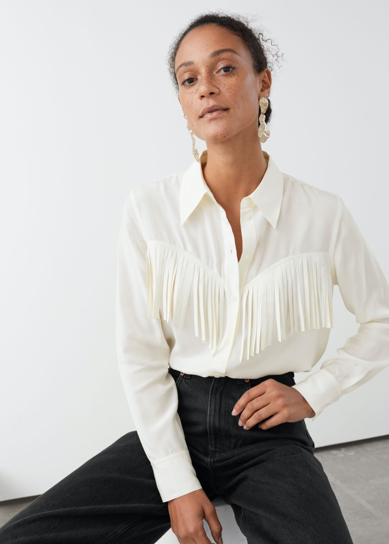 & Other Stories Button Up Fringe Shirt in White $99