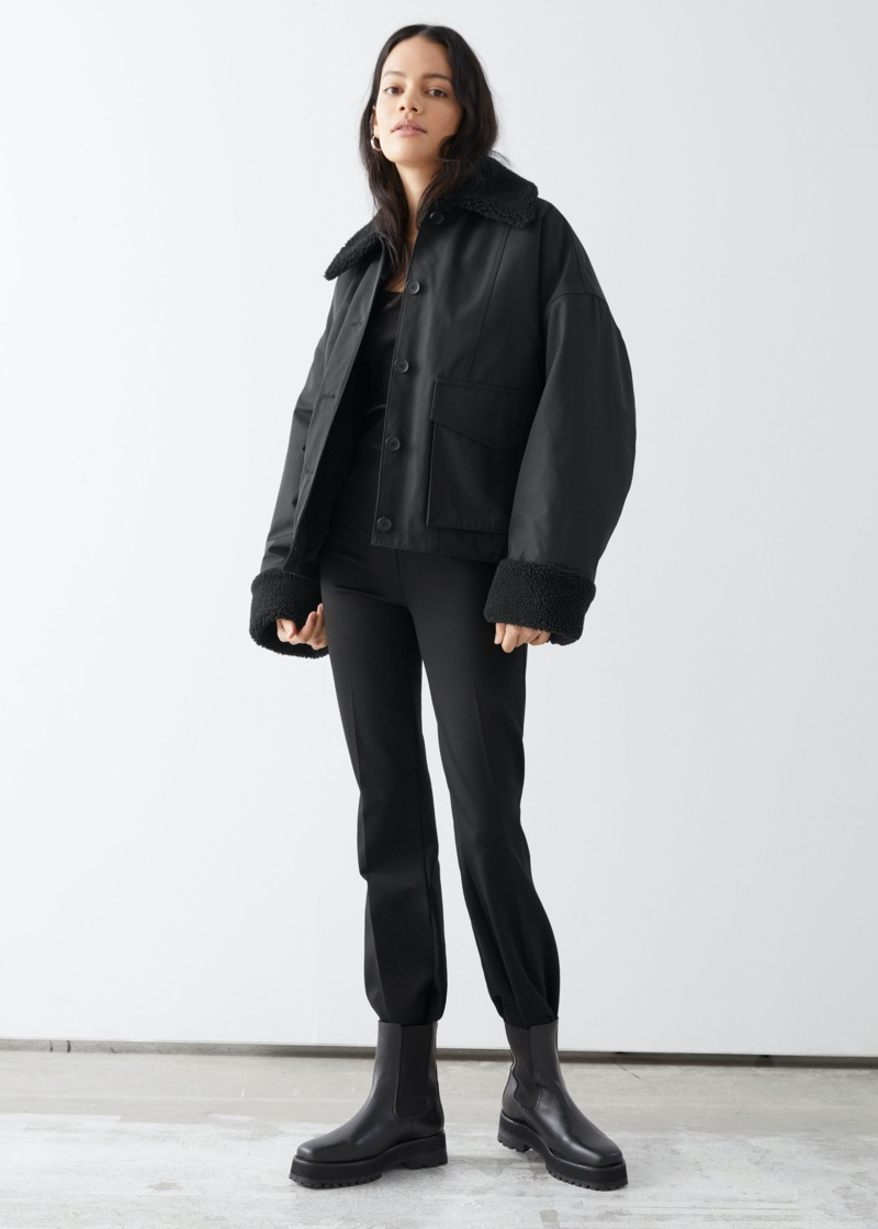 & Other Stories Buttoned Boxy Faux Fur Sherpa Jacket $179
