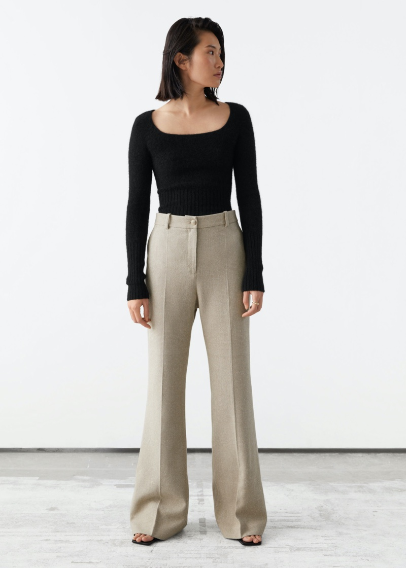 & Other Stories Slim Silk Press Crease Trousers $129