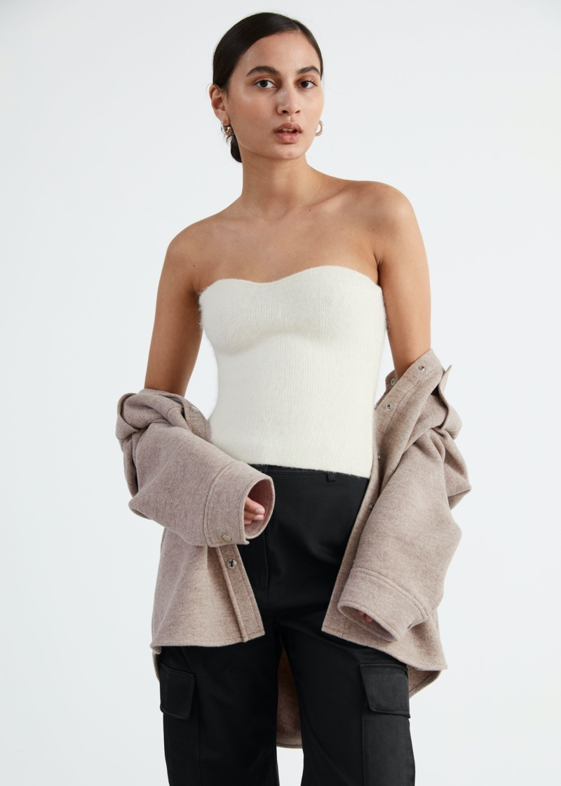 & Other Stories Fitted Alpaca Blend Bustier Tube Top $69