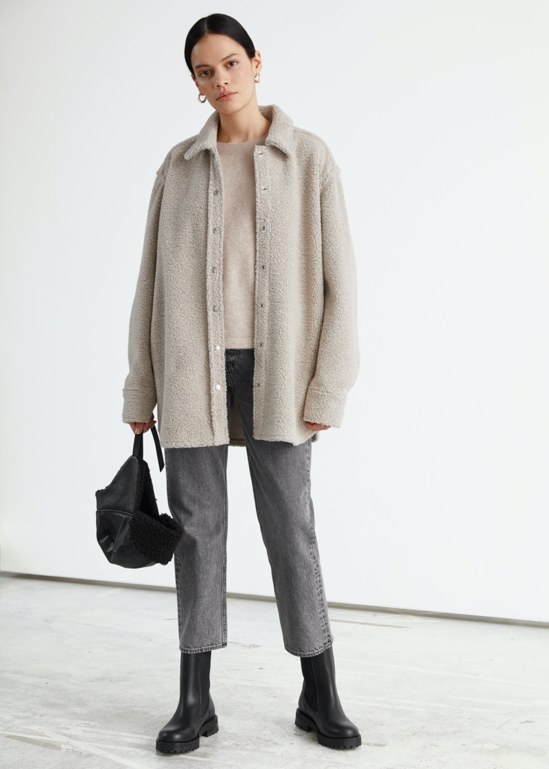 & Other Stories Oversized Wool Blend Boucle Overshirt $179