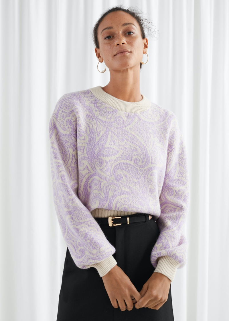 & Other Stories Paisley Jacquard Knitted Sweater $119