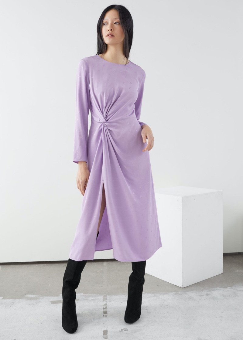 & Other Stories Paisley Twist Knot Midi Dress $119