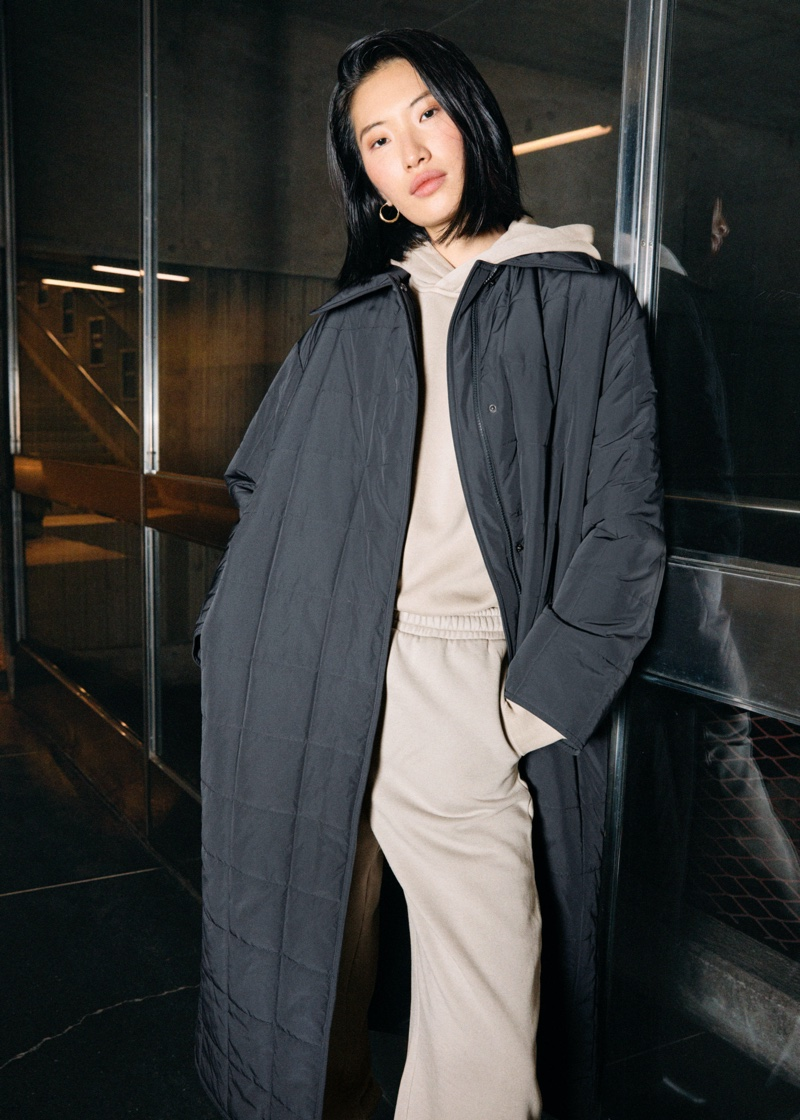 & Other Stories Relaxed Padded Puffer Coat in Grey $179