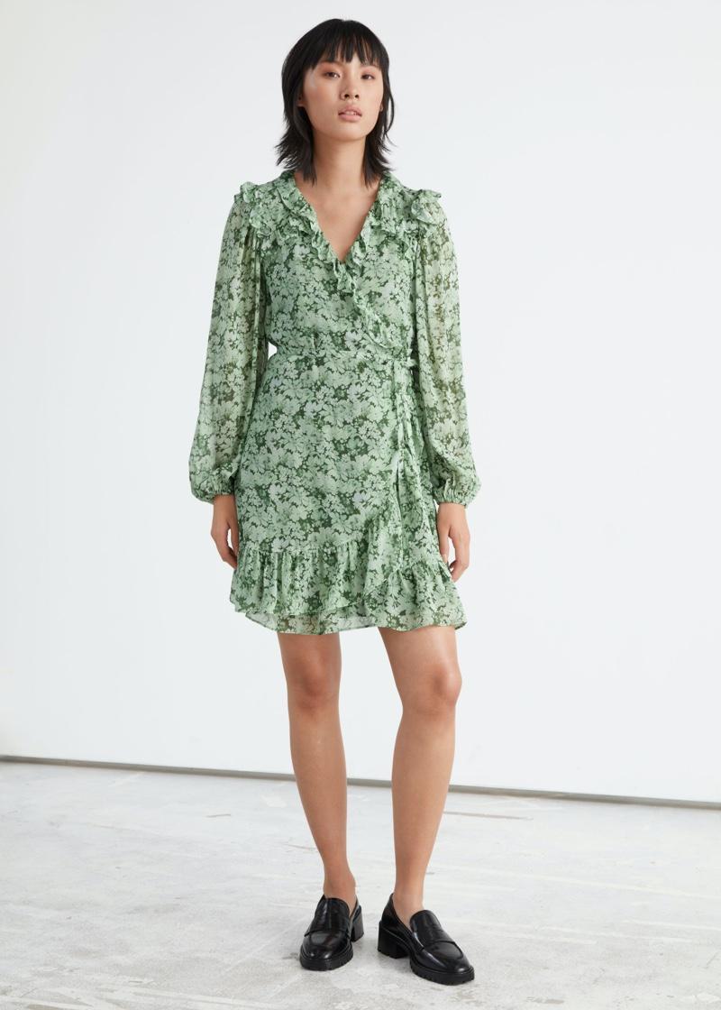 & Other Stories Ruffled Mini Wrap Dress in Green Print $119
