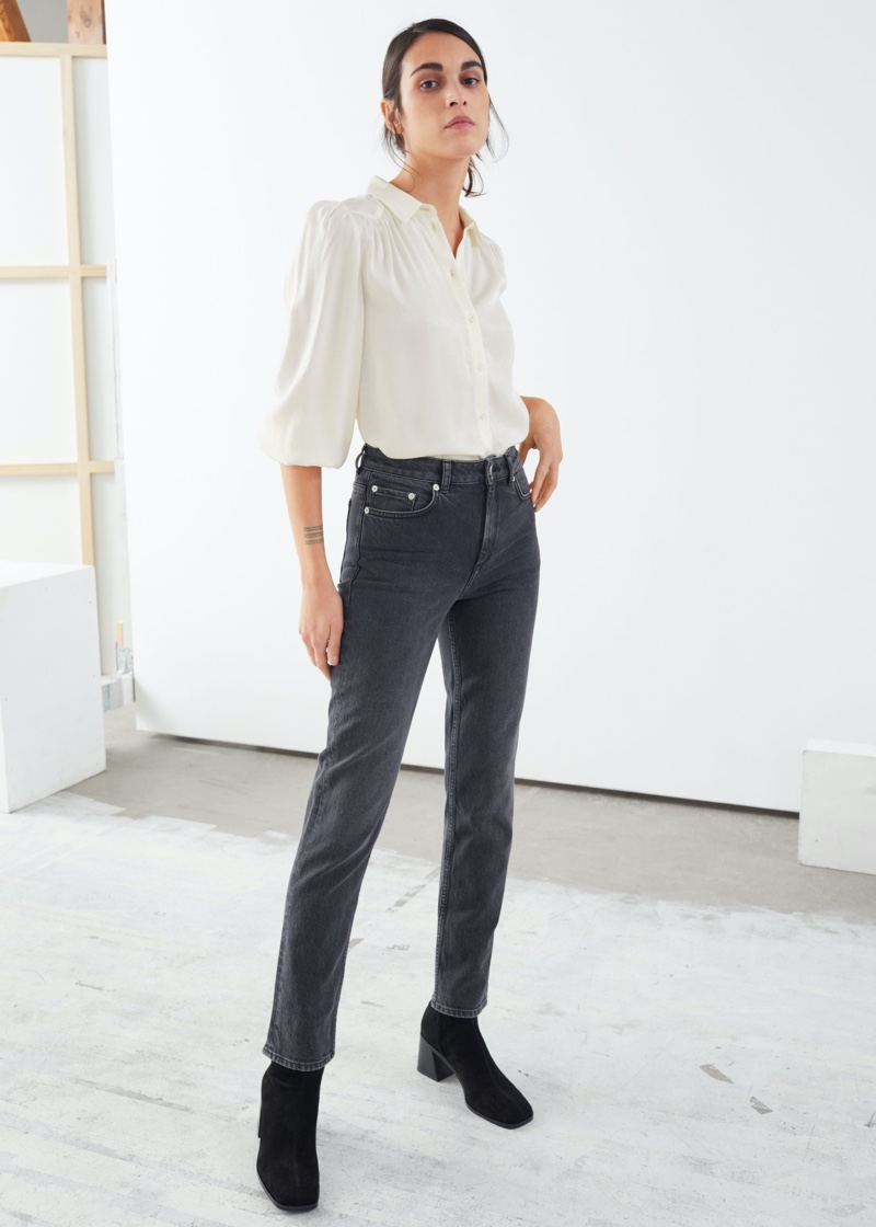 & Other Stories Straight Stretch Jeans in Grey $79
