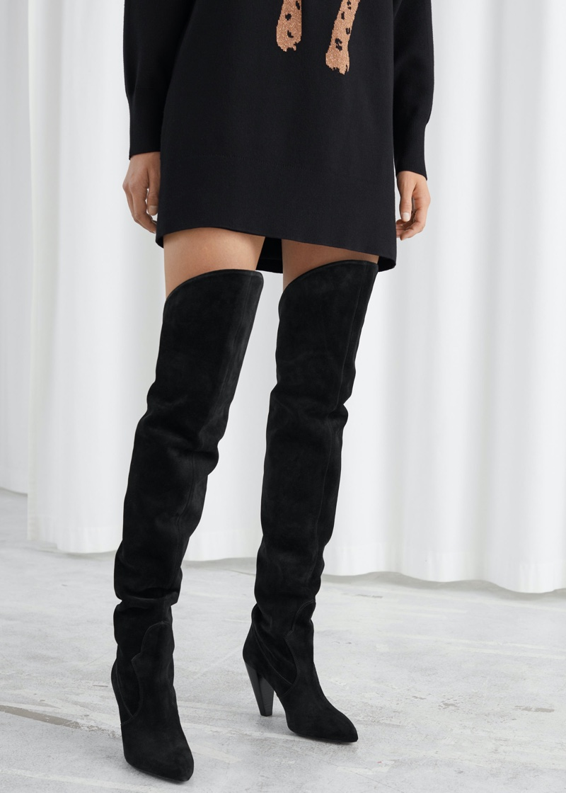 & Other Stories Suede Thigh High Cowboy Boots $349