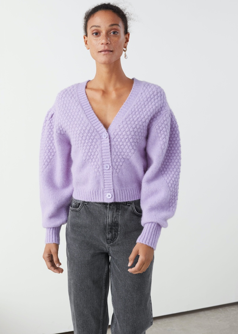 & Other Stories Waffle Knit Wool Blend Cardigan in Lilac $119