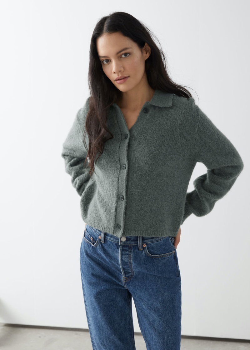 & Other Stories Wool Blend Tortoise Button Cardigan in Grey $89