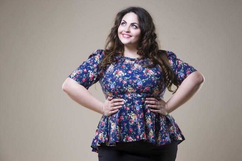 Plus Size Curvy Woman Smiling Floral Print Top