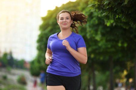 Plus Size Woman Running Shorts Blue Tee