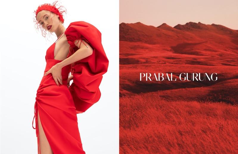 Laura Sorensen dresses in red for Prabal Gurung spring-summer 2020 campaign