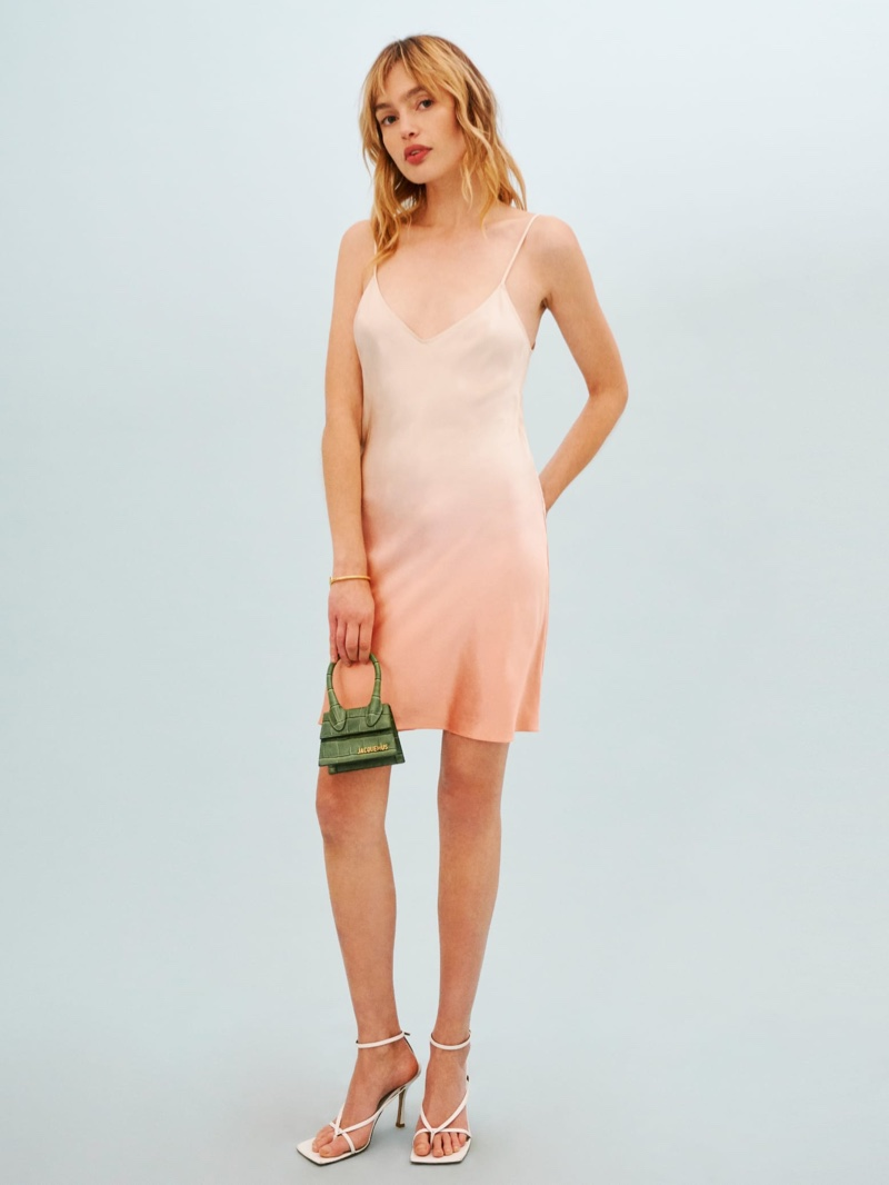Reformation Cher Dress in Peaches Gradient $218