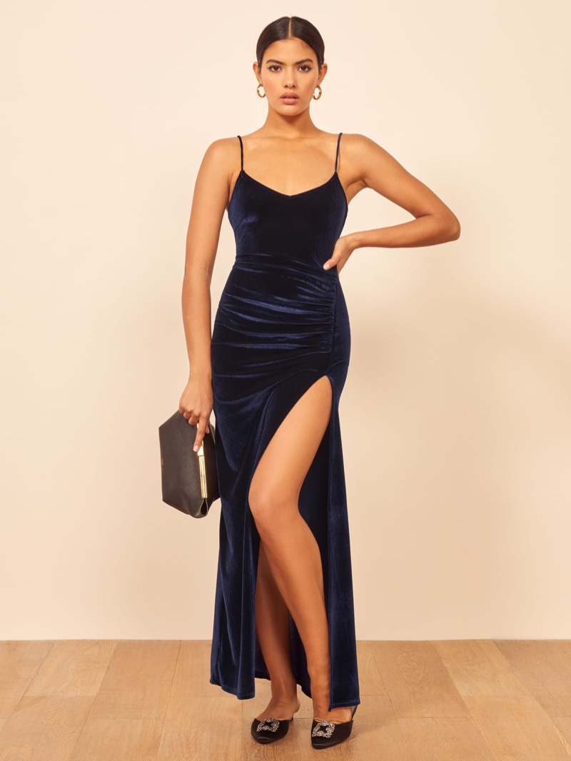 Reformation Romano Dress in Navy $148