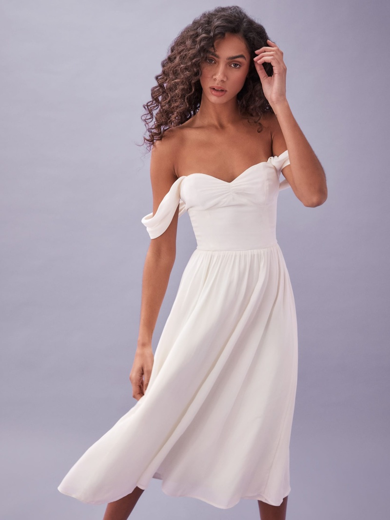 Reformation Violet Dress in Ivory $298