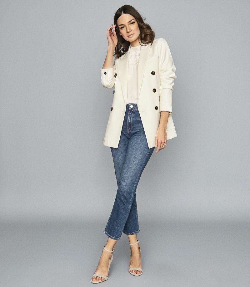 Reiss Astrid Wool Blend Double Breasted Blazer in Ivory $445
