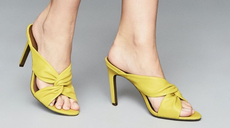 Reiss Ella Leather Twist Front Heeled Mules in Yellow $245