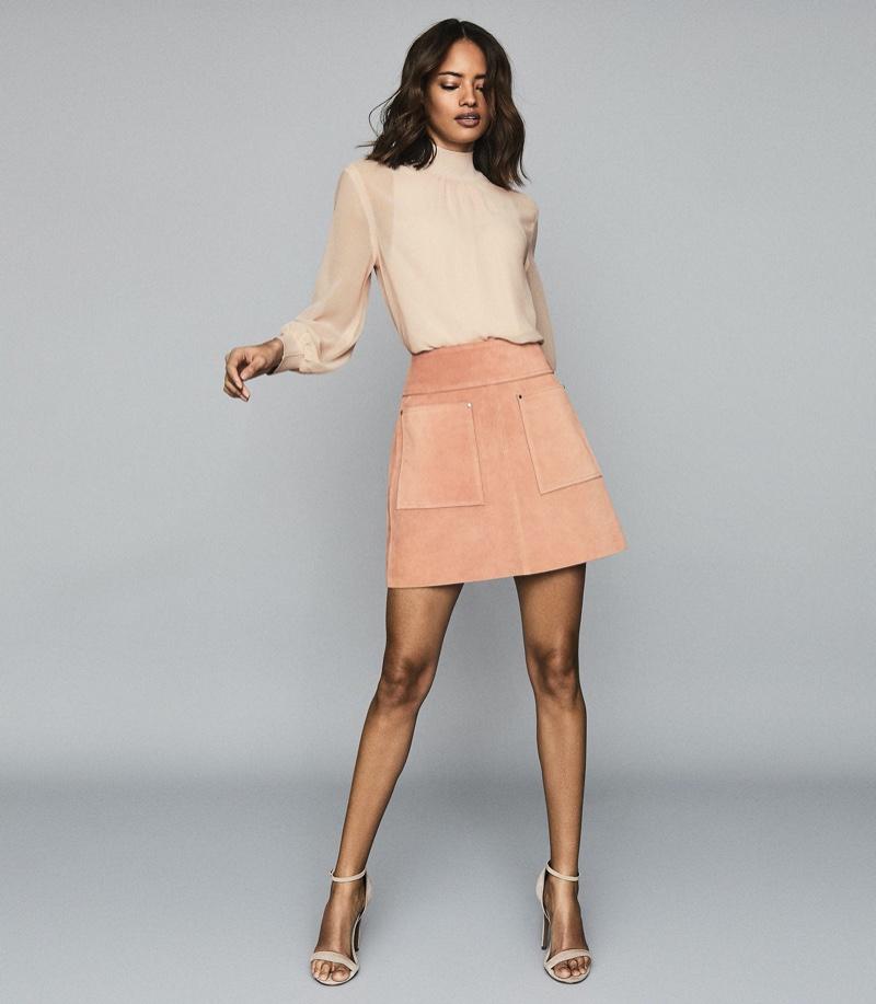 Reiss Elm Suede Mini Skirt $500