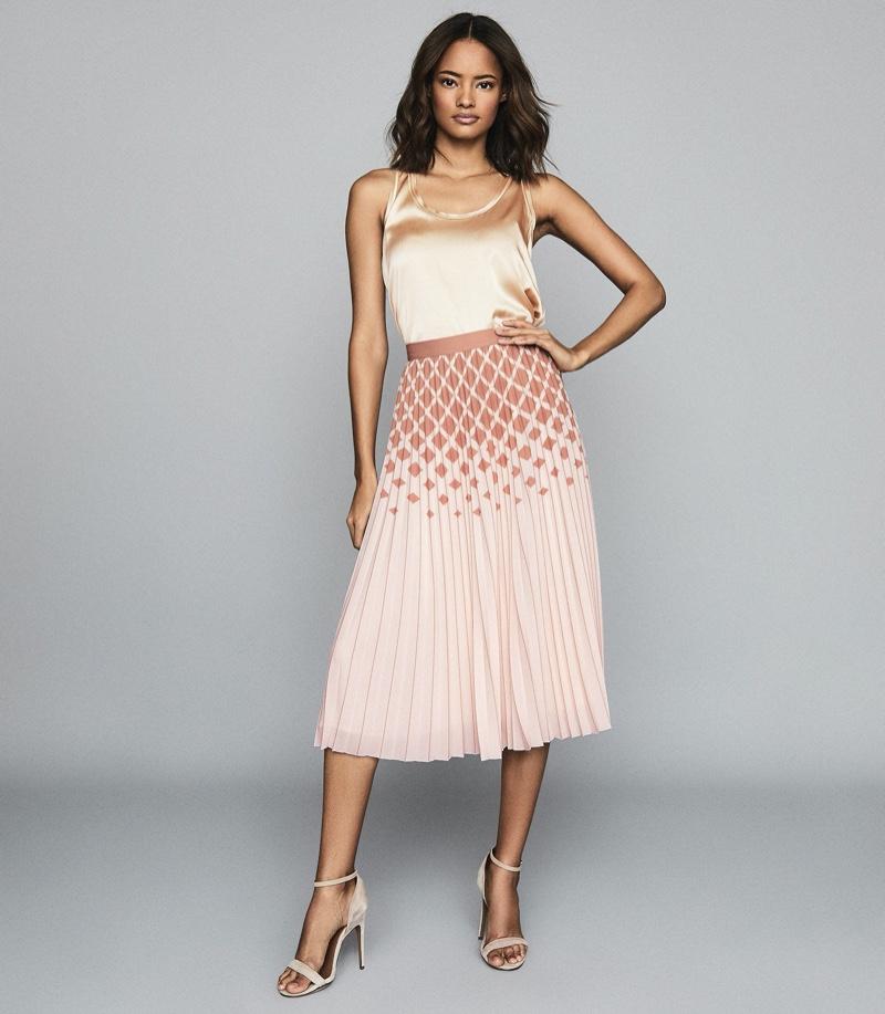 Reiss Elsa Printed Knife-Pleat Midi Skirt in Peach $295