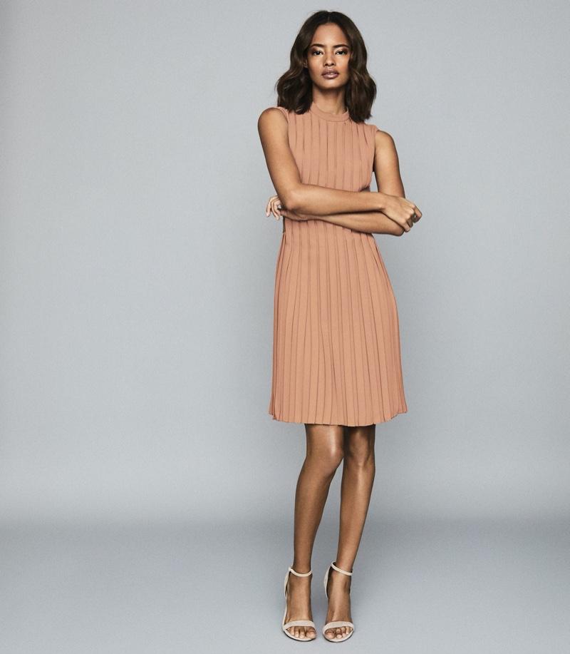 Reiss Linnea Pleated Sleeveless Mini Dress in Pink $425