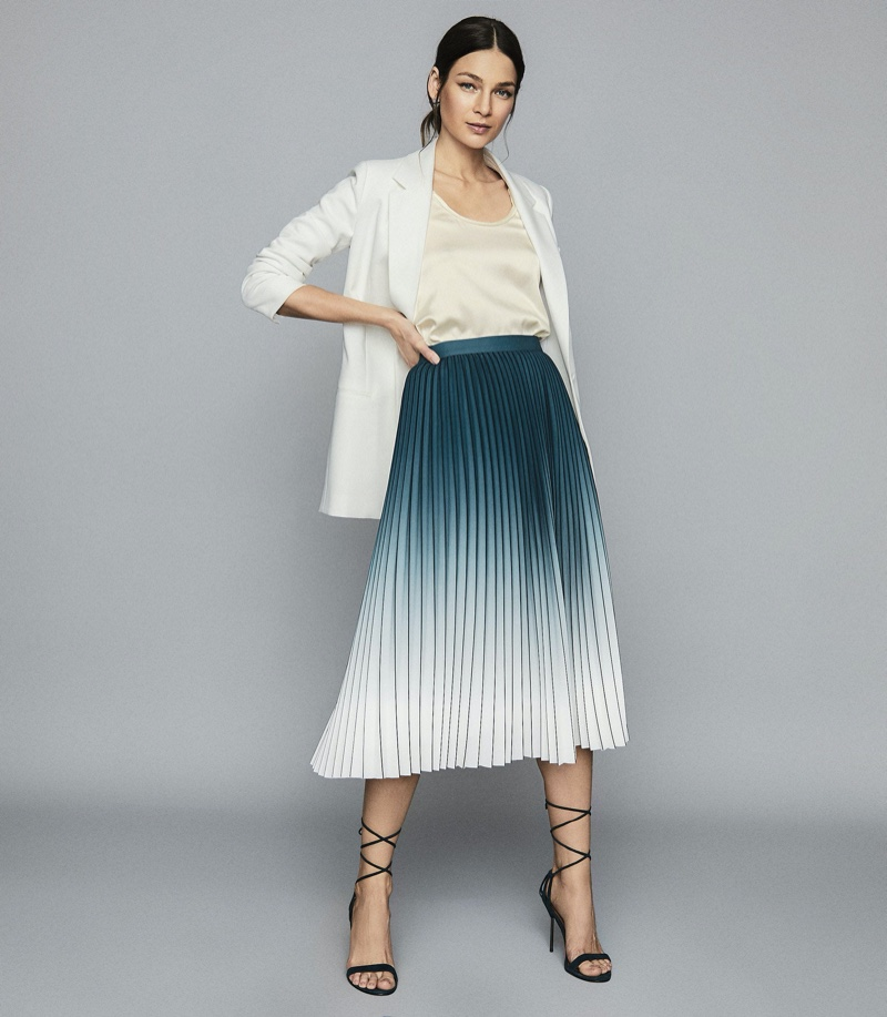 Reiss Mila Ombre Pleated Midi Skirt in Teal $295