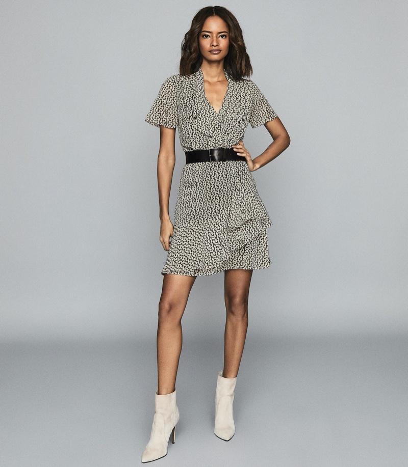 Reiss Paris Printed Ruffle Trimmed Chiffon Dress $330