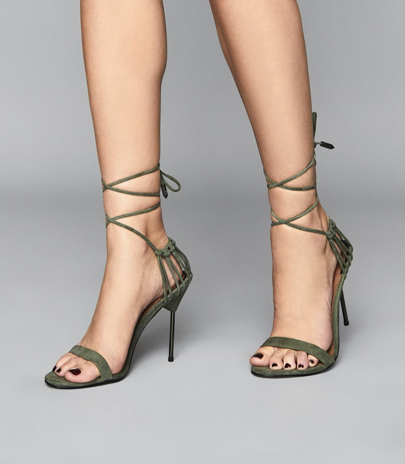 Reiss Zhane Suede Strappy Wrap Sandals in Pale Green $345