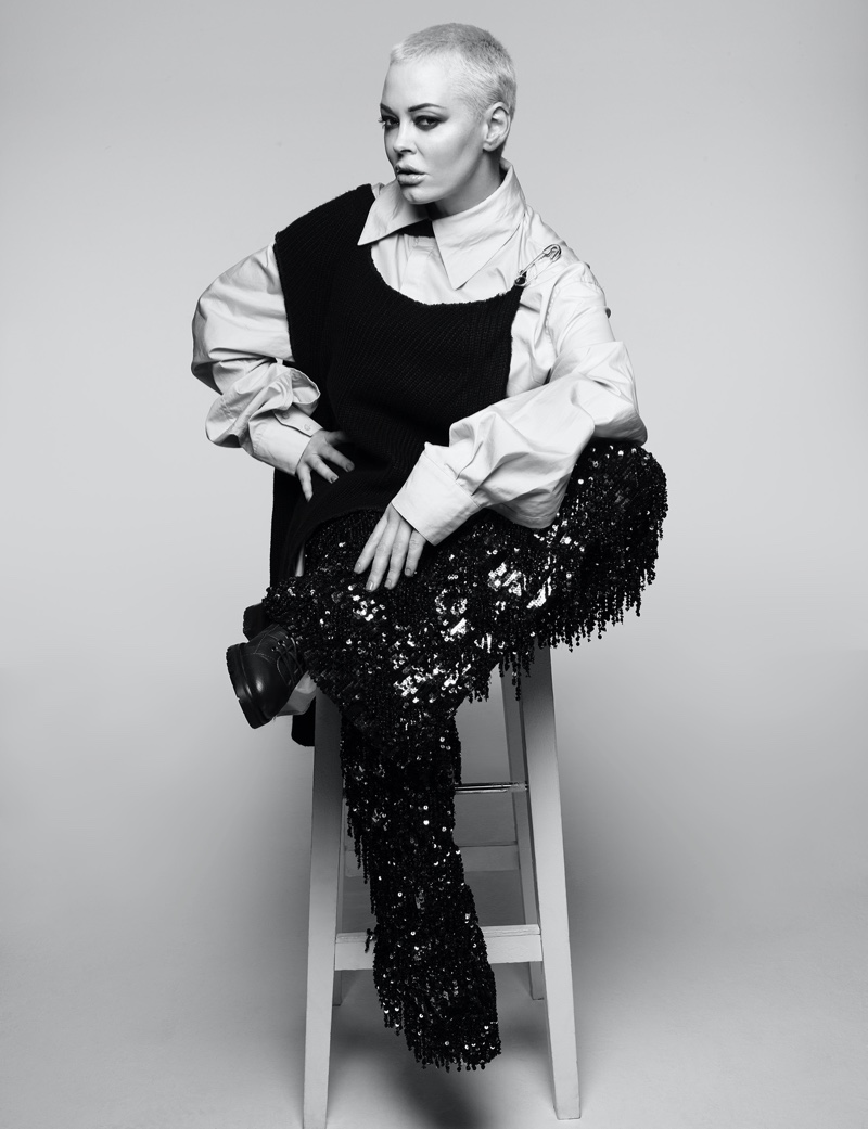 Dazzling in sequins, Rose McGowan poses in black and white image. Photo: Rankin