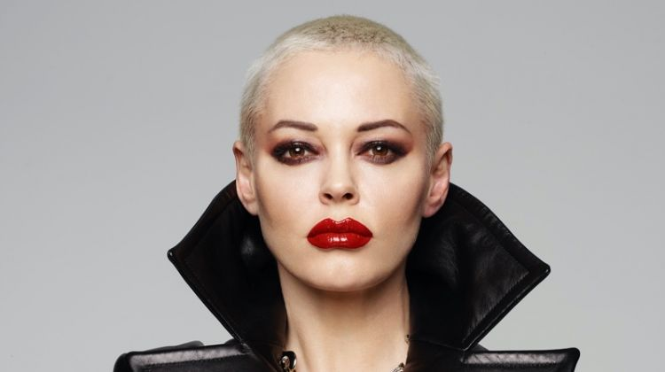Clad in leather, Rose McGown strikes a pose. Photo: Rankin
