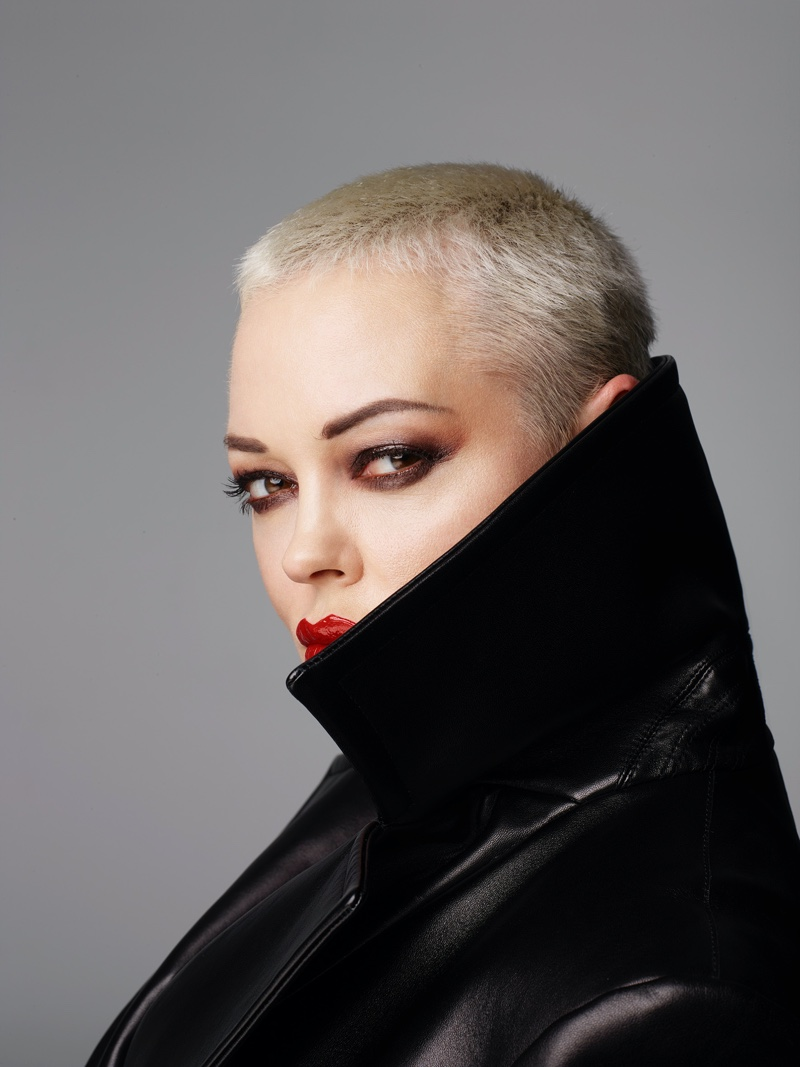 Rose McGowan shows off a short blonde hairstyle. Photo: Rankin