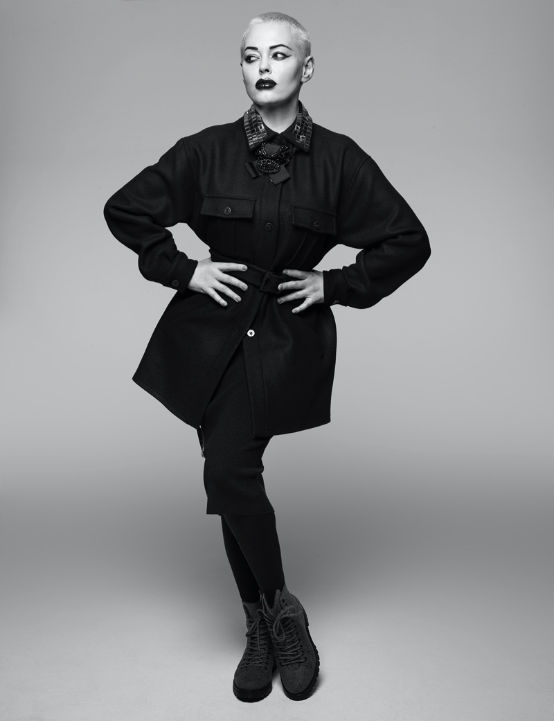 Rose McGowan poses in Pinko jacket & skirt, PK Bijoux necklace and Jimmy Choo boots. Photo: Rankin