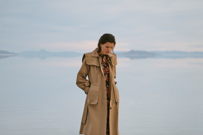 Sea Scott Trench Coat $695 and Pascale Midi Dress $395