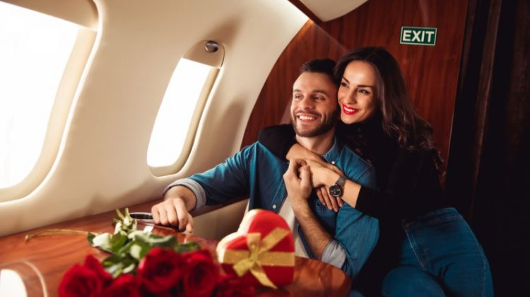 Smiling Couple Plane Roses Heart-Shaped Box