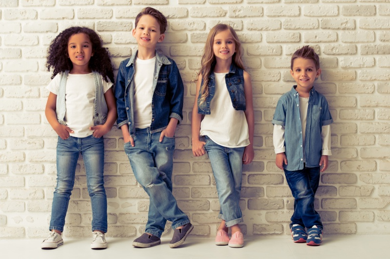 Stylish Children Wearing Denim Outfits